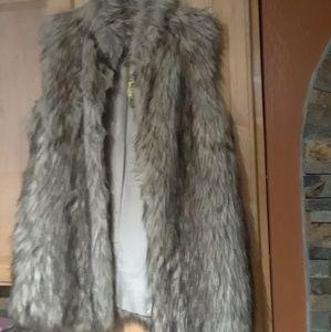 Gianni Bini Multicolor Faux Fox Fur Vest